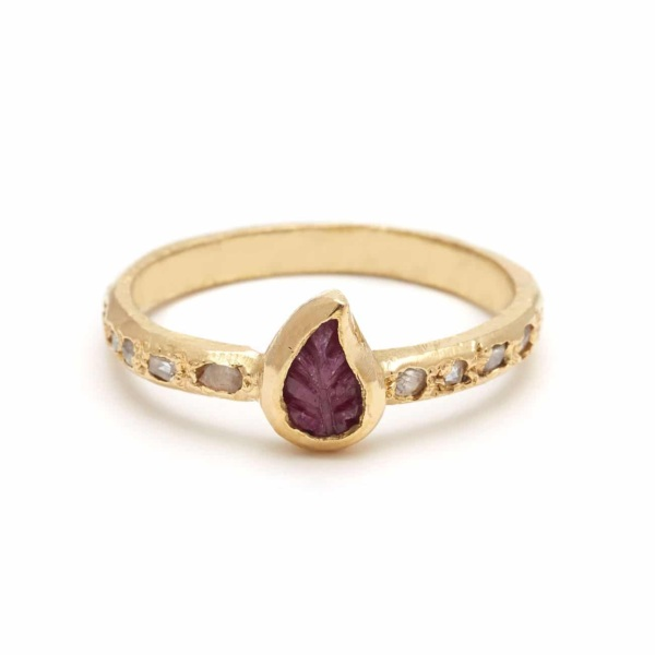 Yellow Gold Ruby Leaf Ring