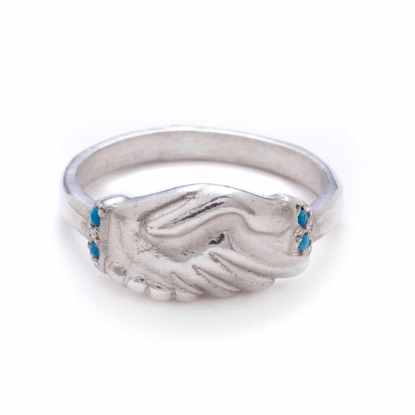 Sterling Turquoise Clasped Hands Ring
