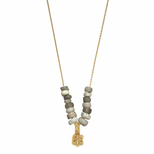 Yellow Gold Diamond Daisy Beaded Necklace