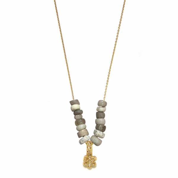 Yellow Gold Diamond Daisy Beaded Necklace