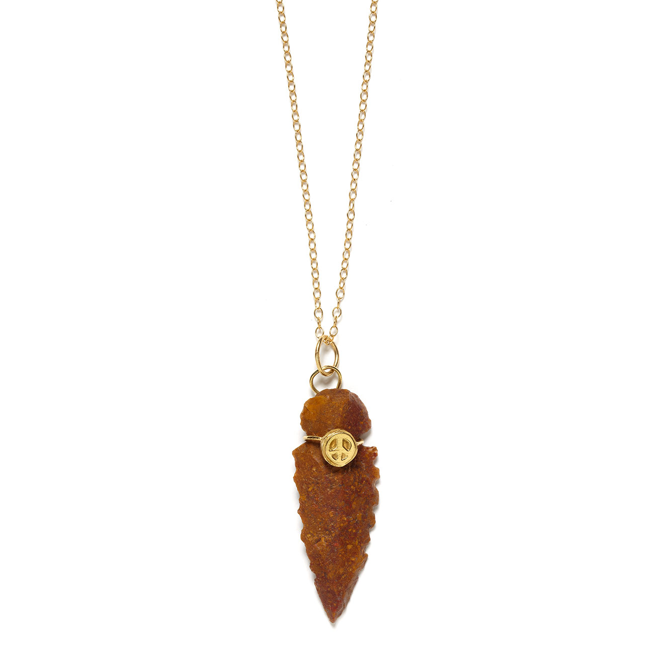 yellow gold arrowhead peace necklace