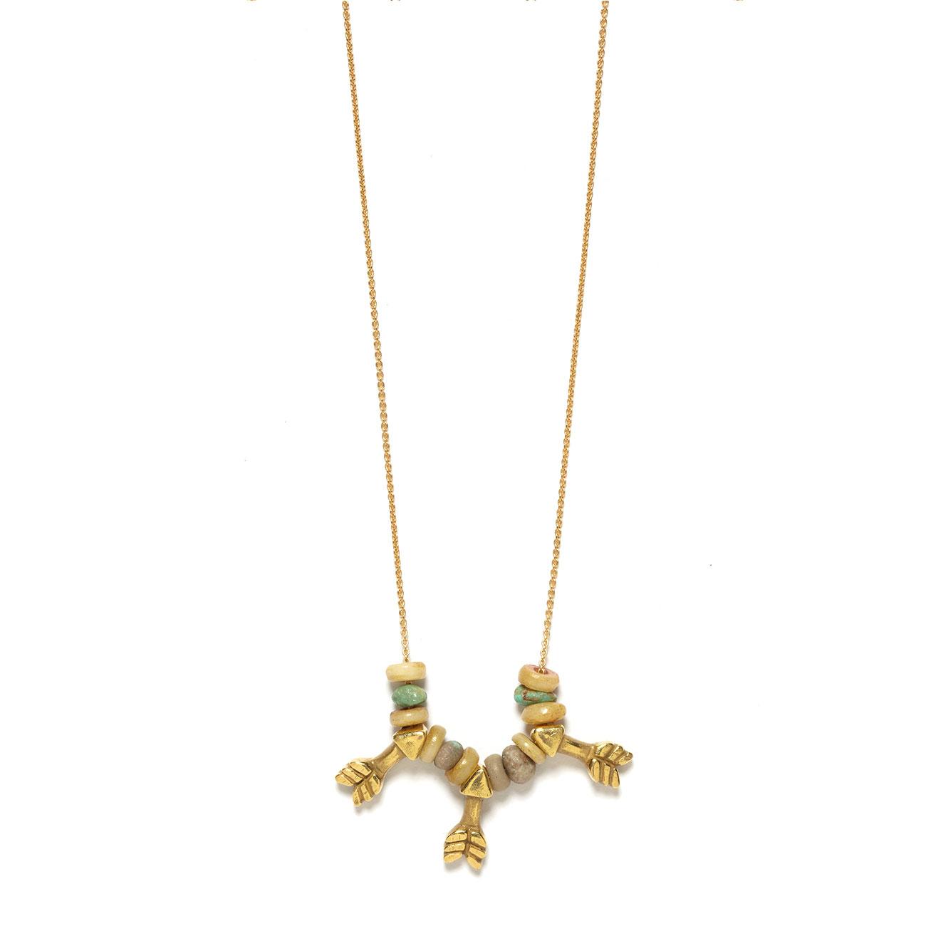 yellow gold three arrow necklace