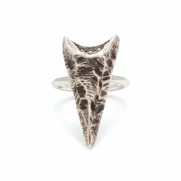 Blackened Sterling Silver Large Arrowhead Ring With White Diamonds