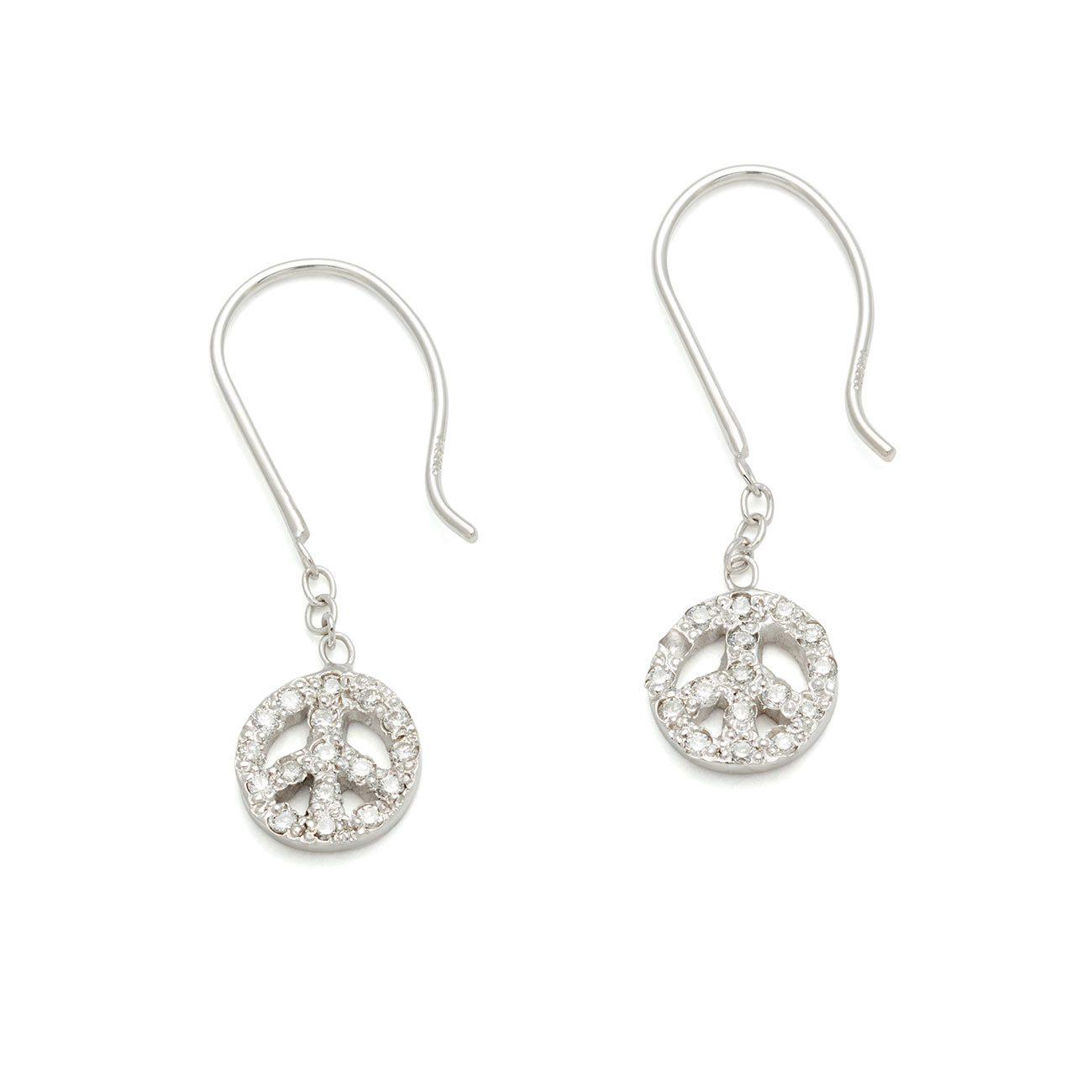 Platinum Tiny Peace Sign Dangling Earrings
