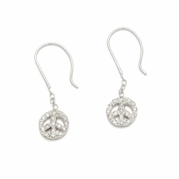 Platinum Tiny Peace Sign Dangling Earrings