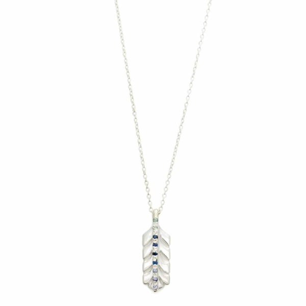 Sterling Silver Feather Necklace With Ombre Blue Gems - Elisa Solomon