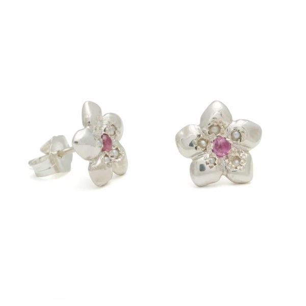 Sterling Silver Flower Stud Earrings With Pink Sapphire And Pearls