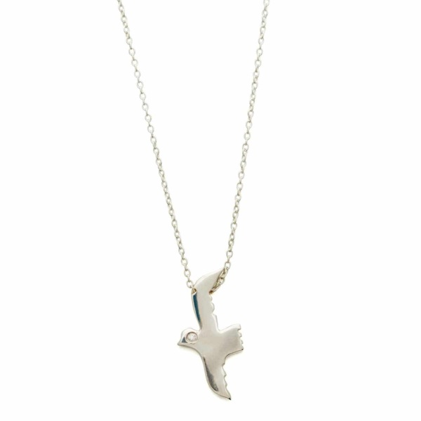 Sterling Silver Flying Bird Necklace With White Diamond Eye - Elisa Solomon