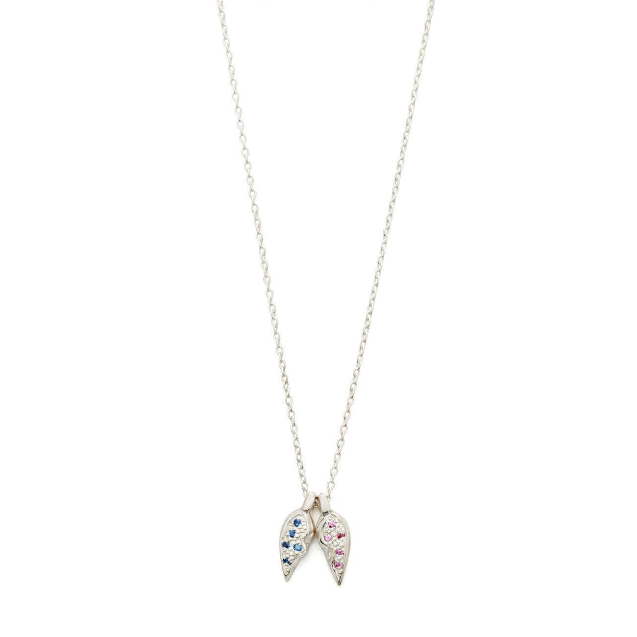 Sterling Silver Heart Halves Necklace With Blue And Pink Sapphires - Elisa Solomon