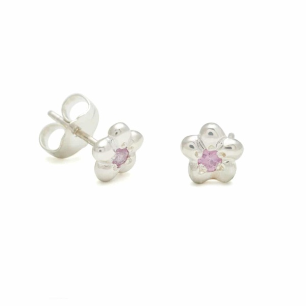 Sterling Silver Newflower Stud Earrings With Pink Sapphire