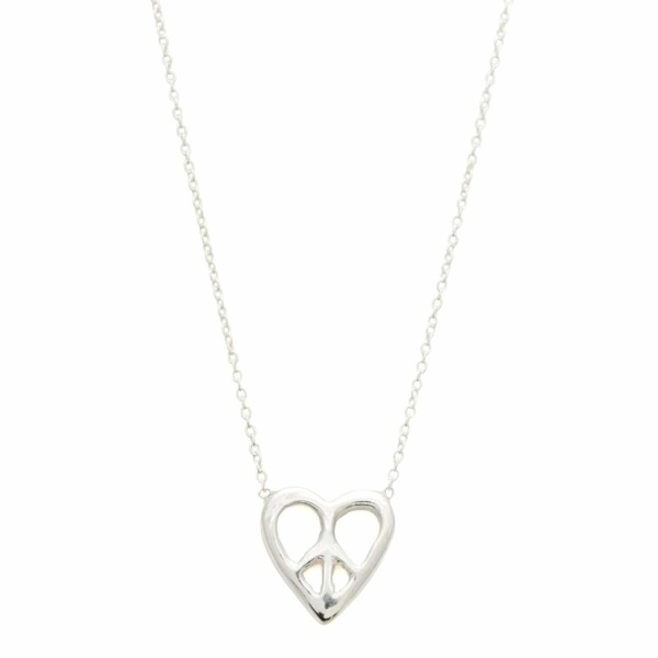 Sterling Silver Peace Heart Necklace With White Diamonds - Elisa Solomon
