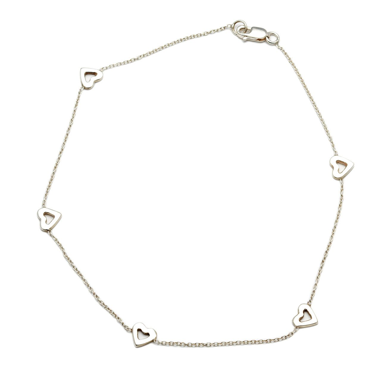 Sterling Silver Tiny Open Hearts Anklet