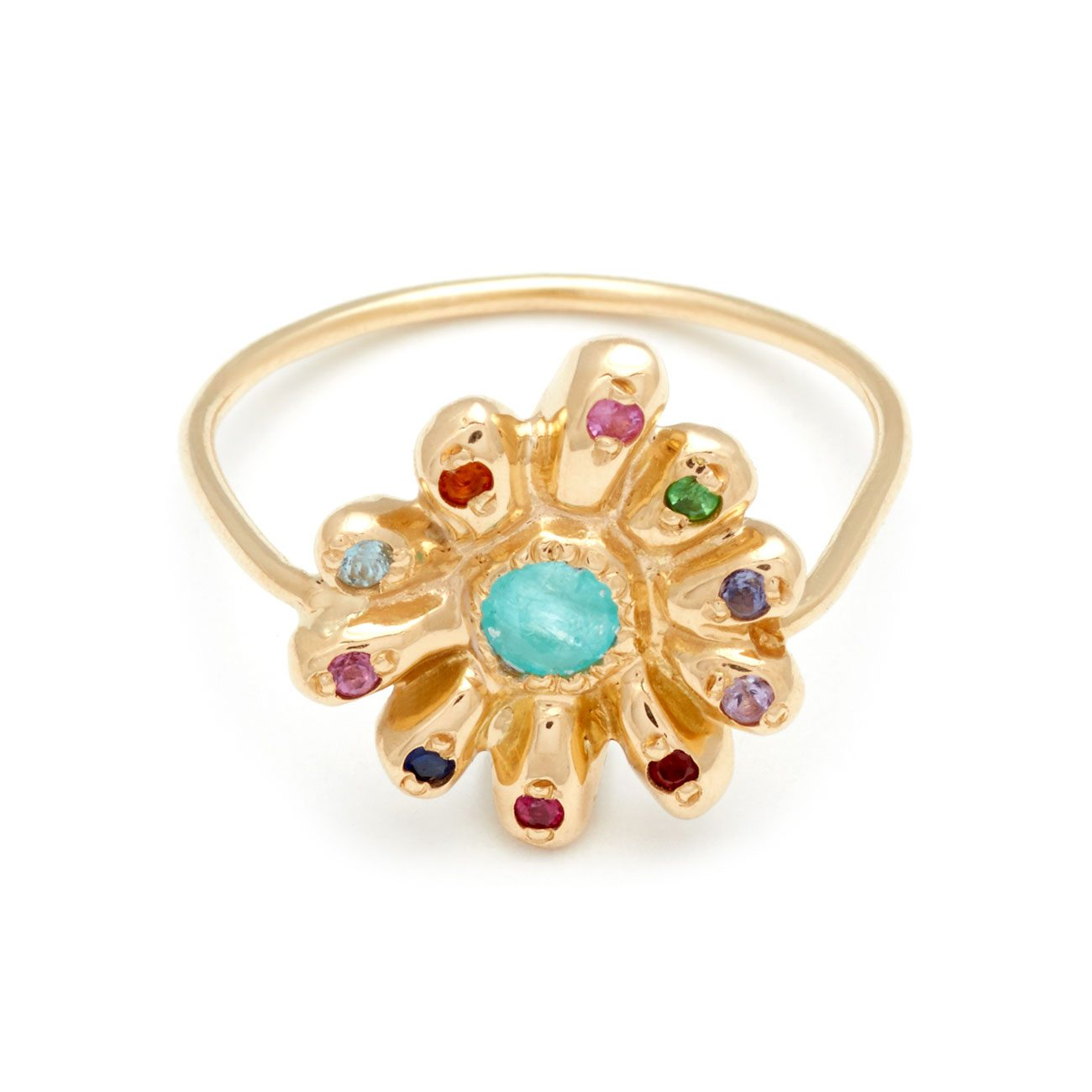 Yellow Gold Multicolor Daisy Ring