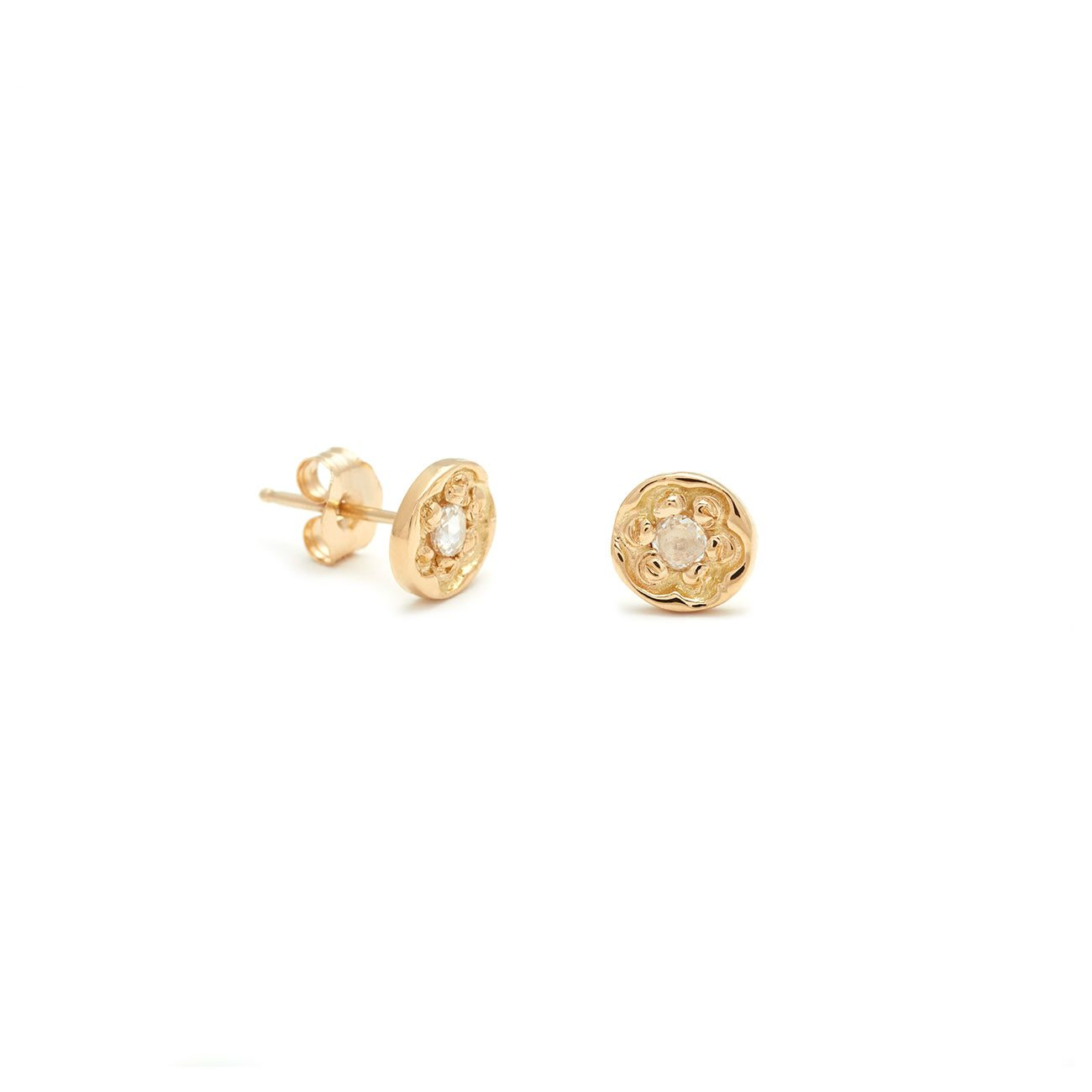 Yellow Gold Flower Disk Stud Earrings