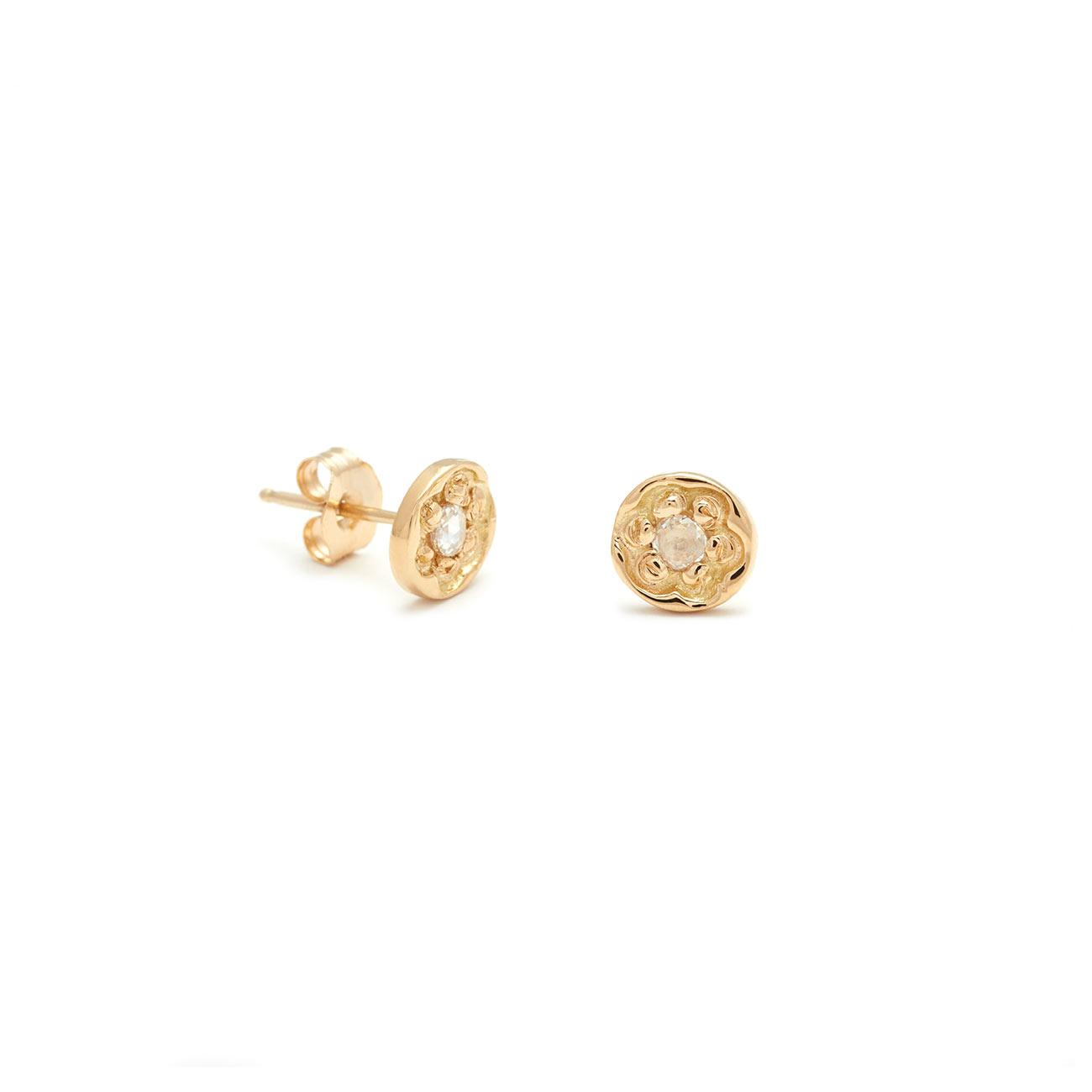 Yellow Gold Flower Disk Stud Earrings
