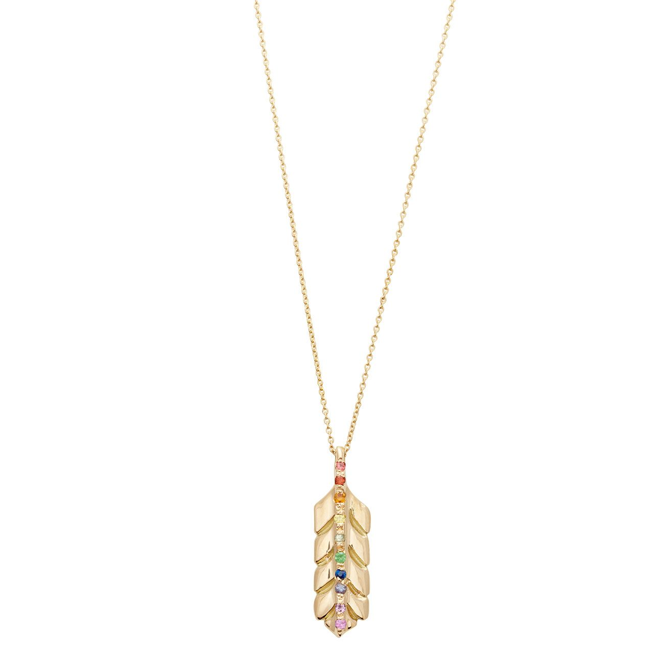 Yellow Gold Rainbow Feather Necklace – Elisa Solomon