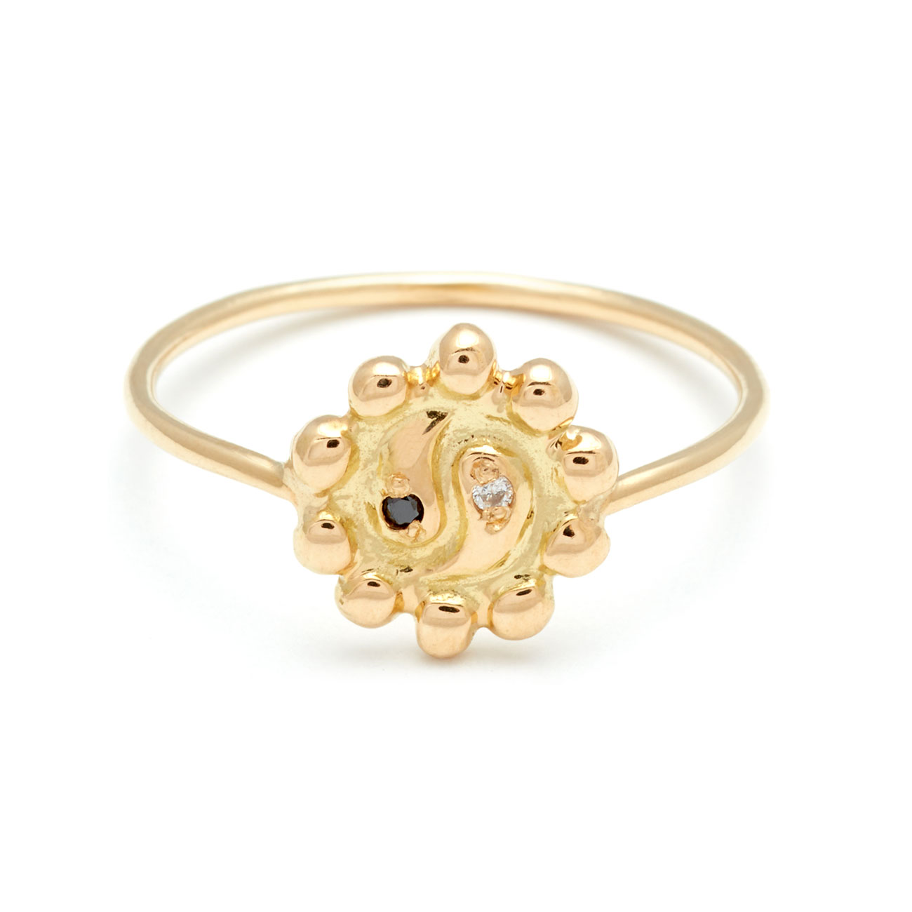 Yellow Gold Ying Yang Flower Ring