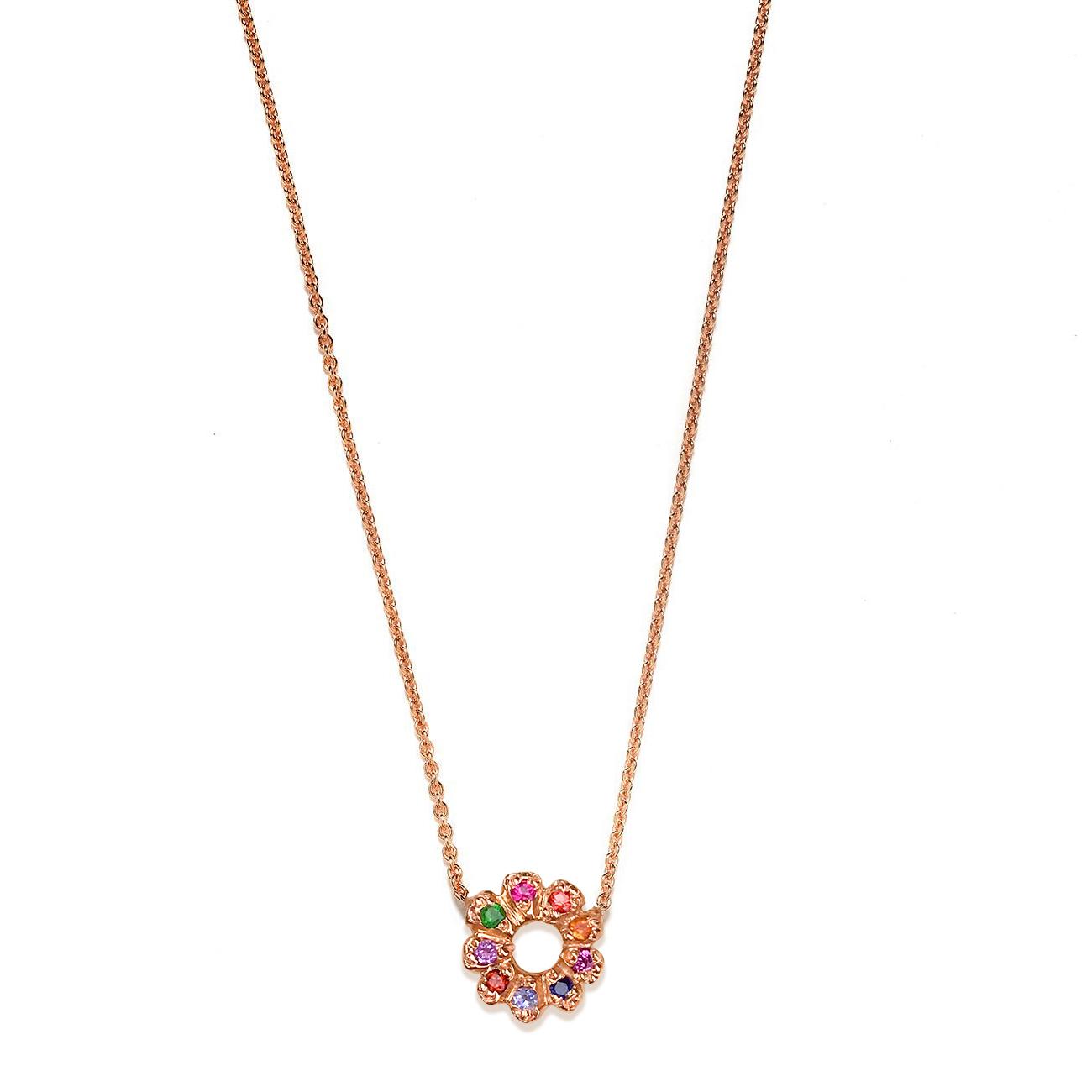 Pink Gold Multicolor Flower Child Necklace
