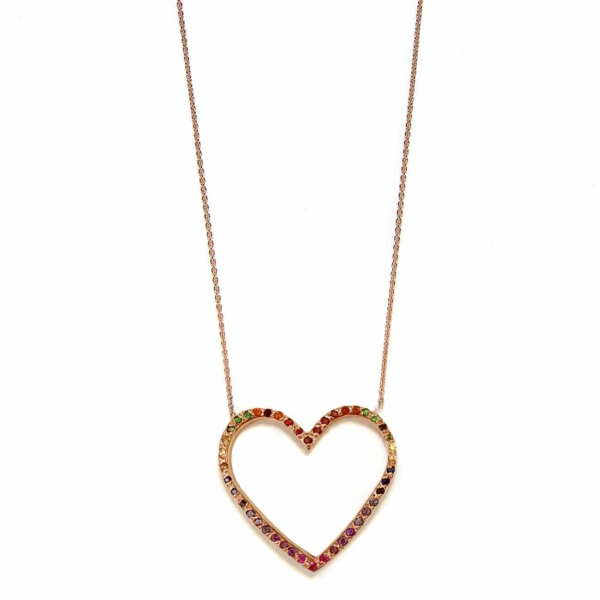 Pink Gold Rainbow Large Open Heart Necklace