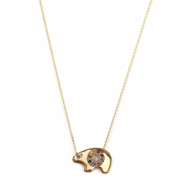 Yellow Gold Opal Rainbow Bear Necklace