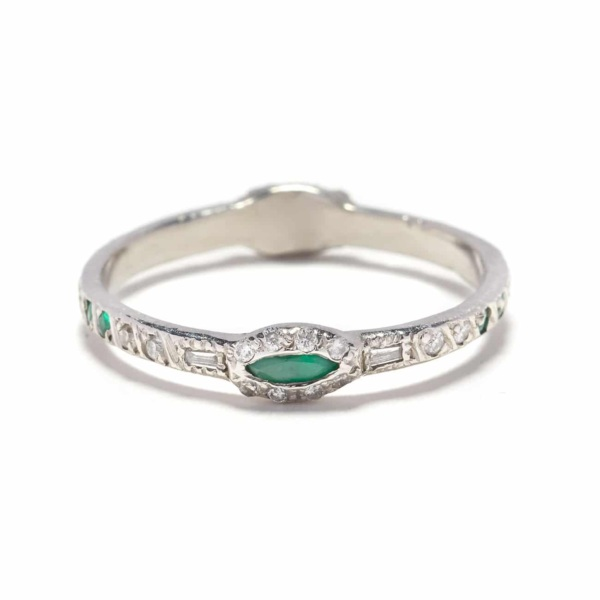 Platinum Diamond Emerald Two Side Marquis Band