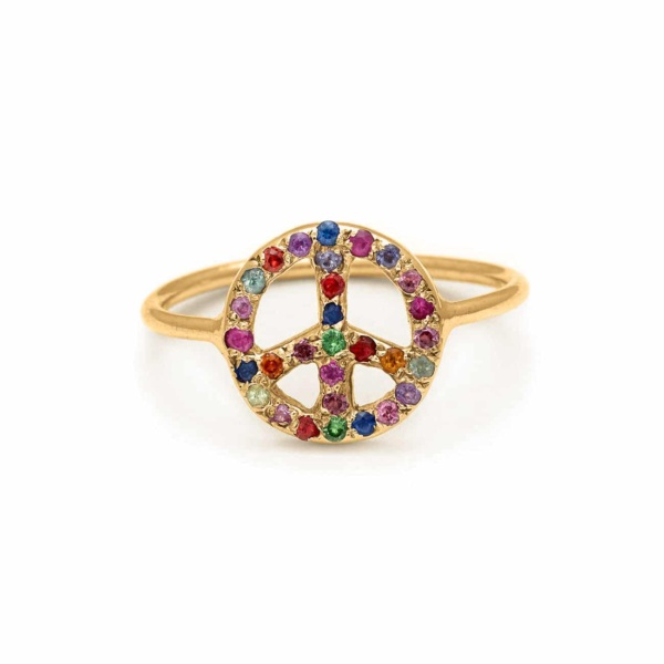 Yellow Gold Peace Sign Ring - Handmade Jewelry - Elisa Solomon Jewelry