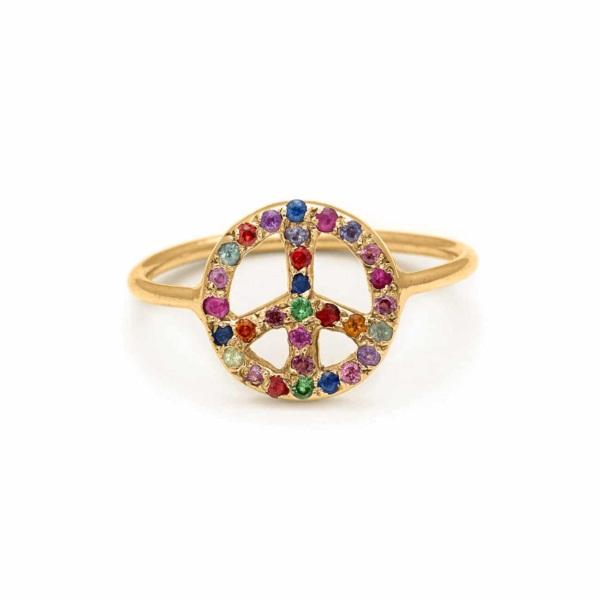 Yellow Gold Peace Sign Ring - Handmade Jewelry - Elisa Solomon Jewelry
