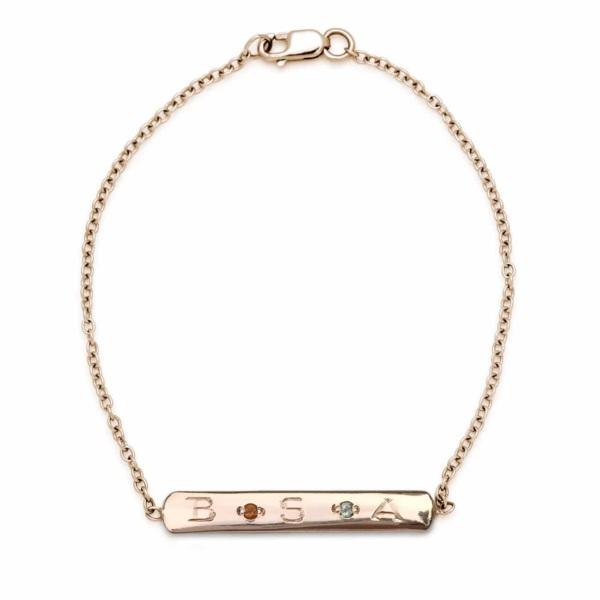 Pink Gold Gem Skinny Id Bracelet