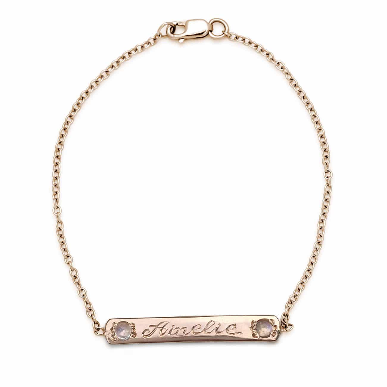 Pink Gold Moonstone Skinny ID Bracelet