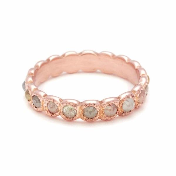 Pink Gold Multicolor Rose Cut Diamond Band