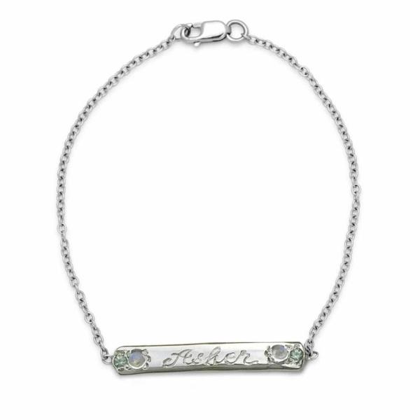 Platinum Gem and Moonstone Skinny ID Bracelet