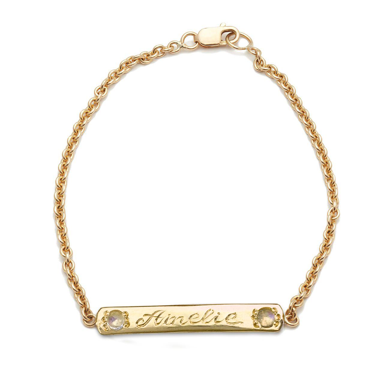 Yellow Gold Moonstone Skinny ID Bracelet
