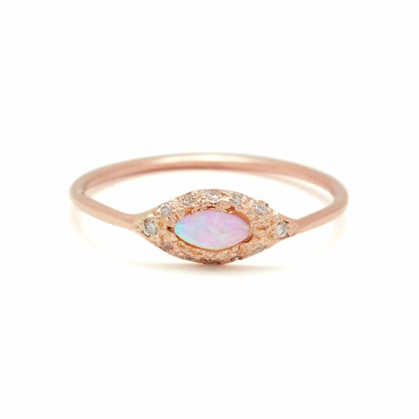 Pink Gold Opal Eye Ring in 18k Pink Gold