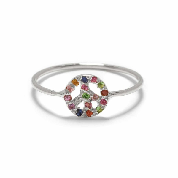 Platinum Tiny Peace Sign Ring
