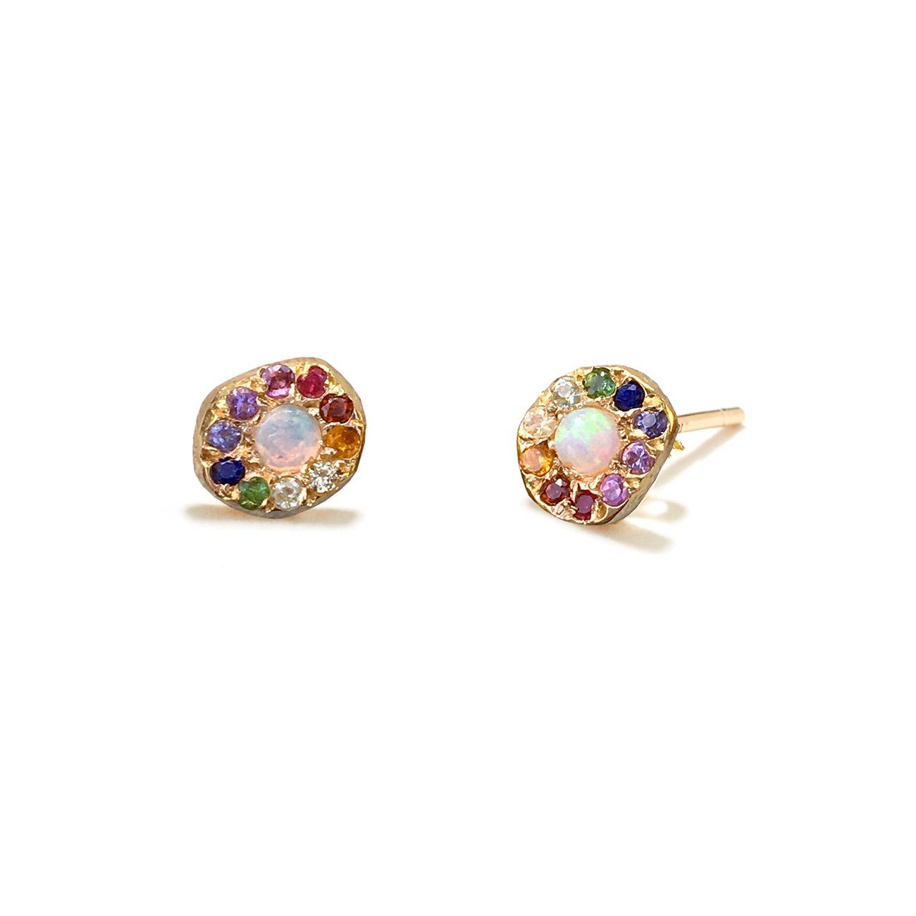 Yellow Gold Opal Rainbow Disk Studs - Elisa Solomon Jewelry