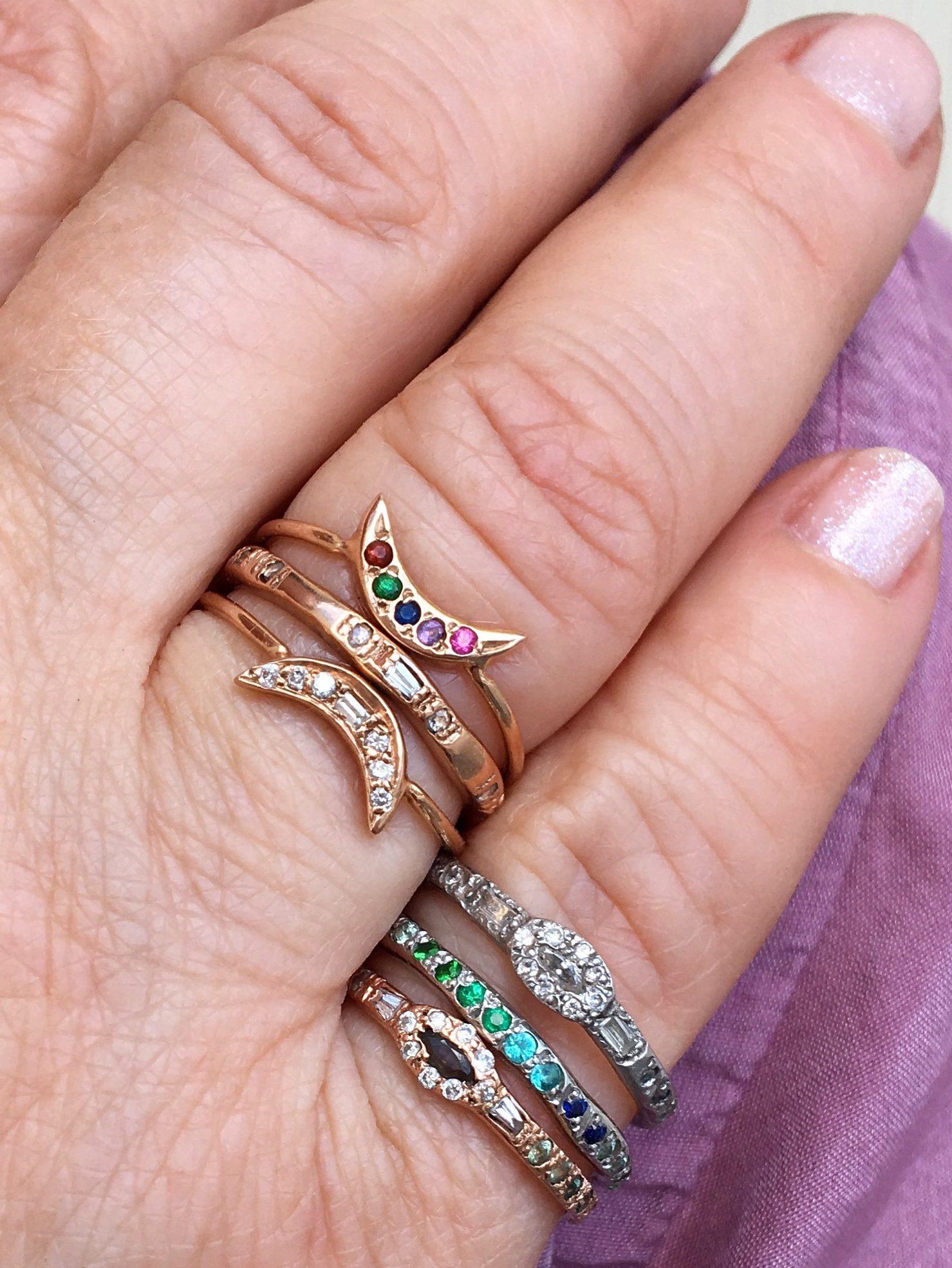 Diamond Mini Moon Ring - Elisa Solomon Jewelry