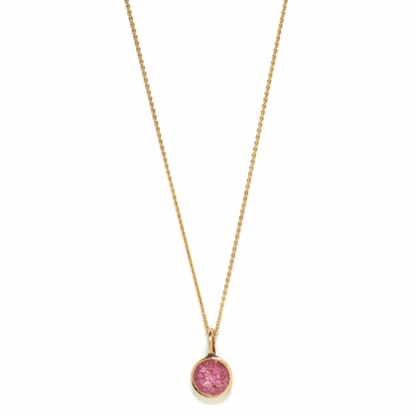 Yellow Gold Ruby Cracked Stone Necklace