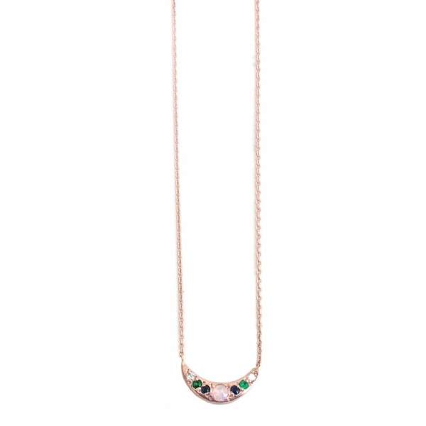 Pink Gold Mini Moon Necklace - Elisa Solomon Jewelry