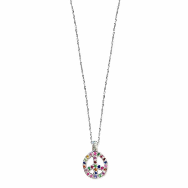Platinum Multicolor Encrusted Peace Sign Necklace With Bail - front view