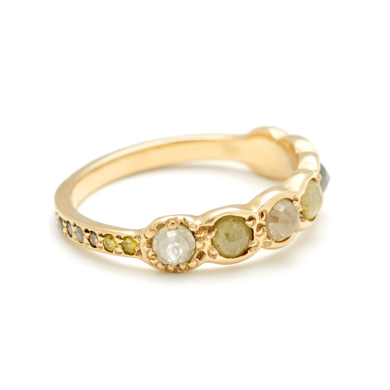 Yellow-Gold-Lucky-Seven-Rainbow-Rosecut-sapphire-Band-sideview-elisa-solomon