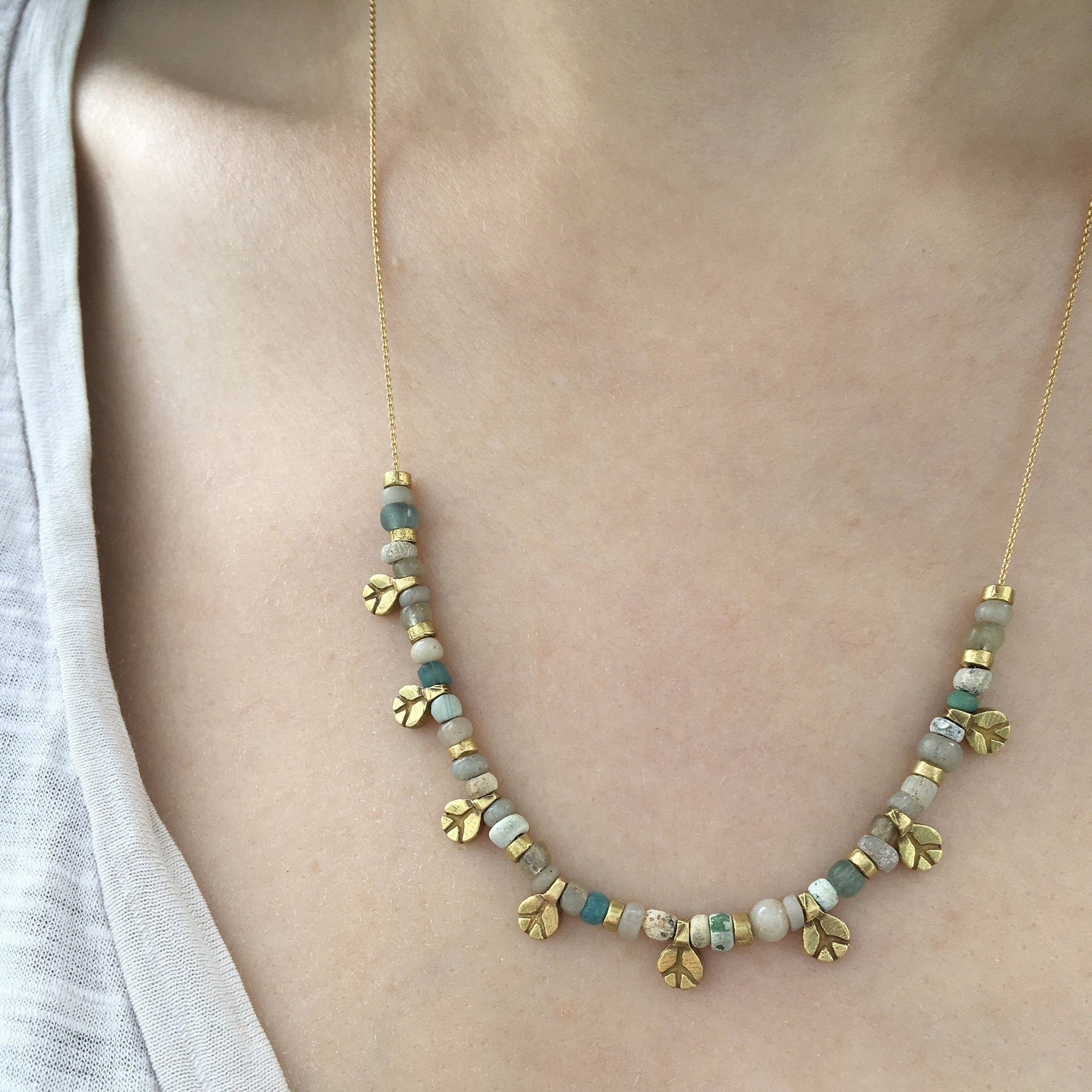 Yellow Gold Opal Baby Peace Charm Necklace peace side