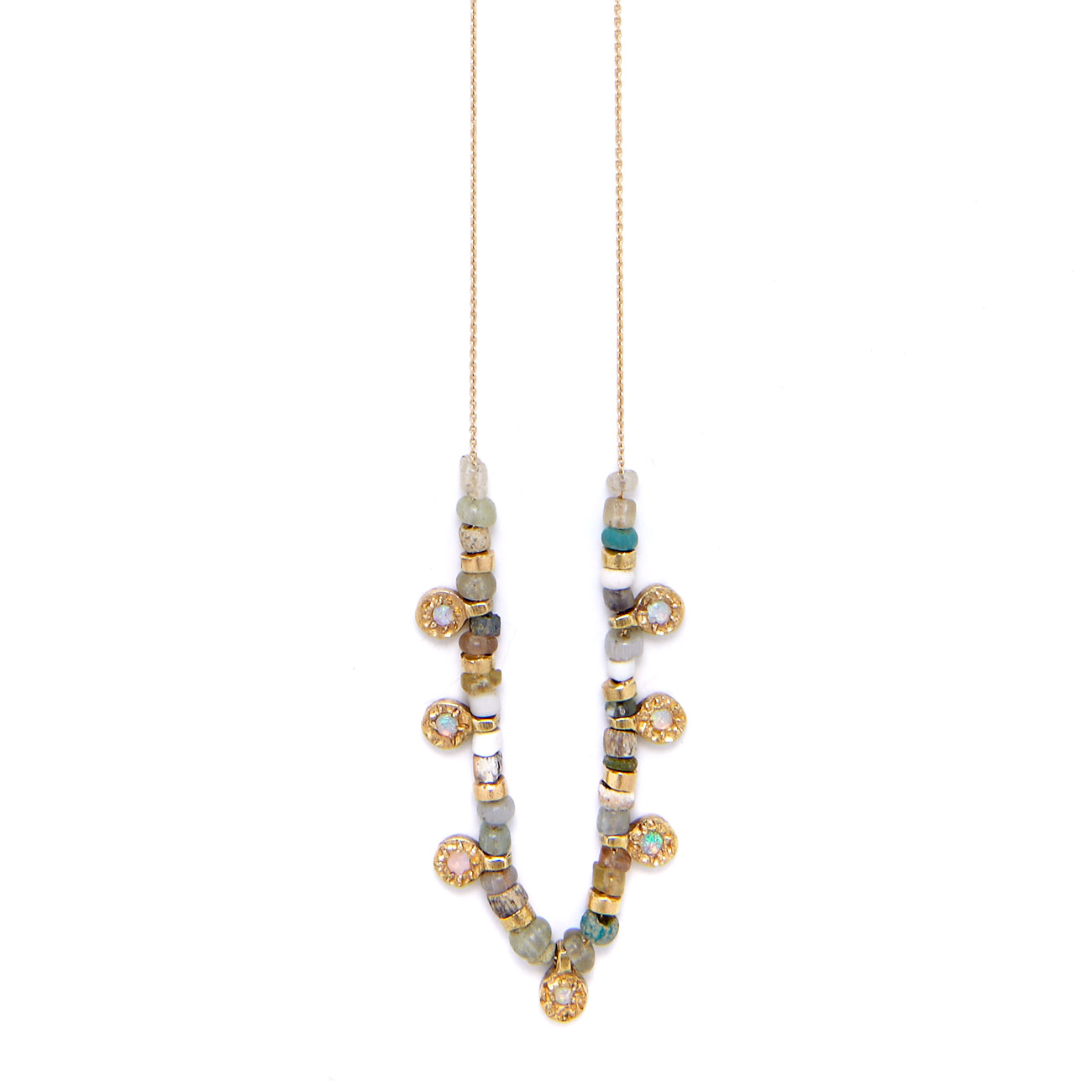 Yellow Gold Opal Baby Peace Charm Necklace
