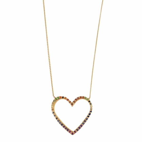 Yellow Gold Rainbow Large Open Heart Necklace
