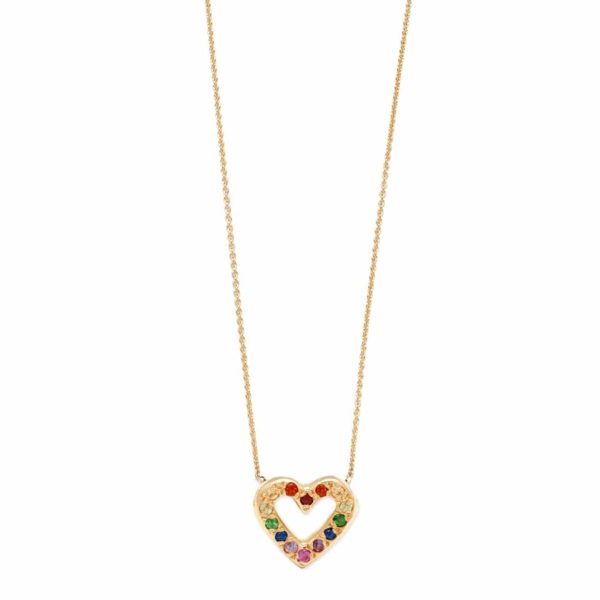 Yellow Gold Rainbow Open Heart Necklace