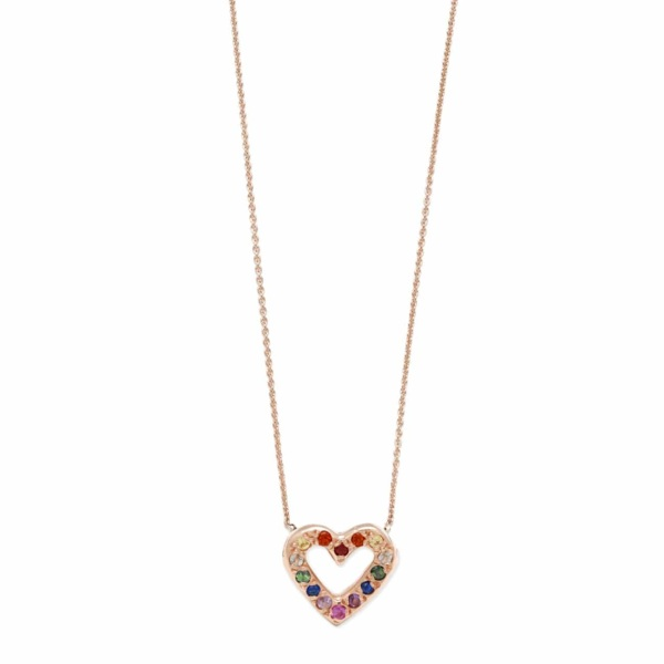Pink Gold Rainbow Open Heart Necklace