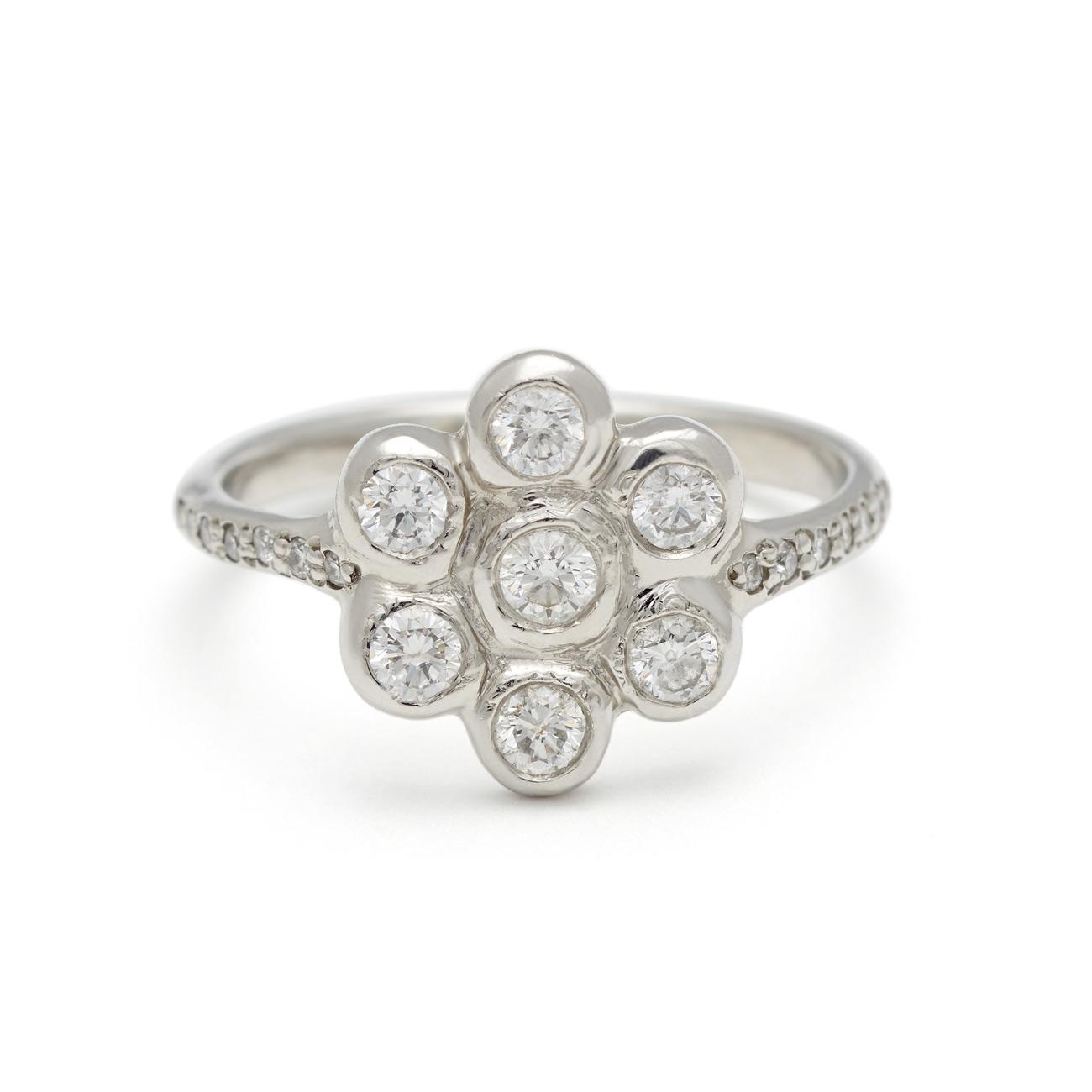 Platinum Six Petal Diamond Flower Ring