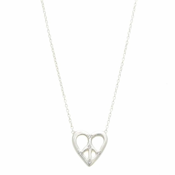 Sterling Silver Peace Heart Necklace