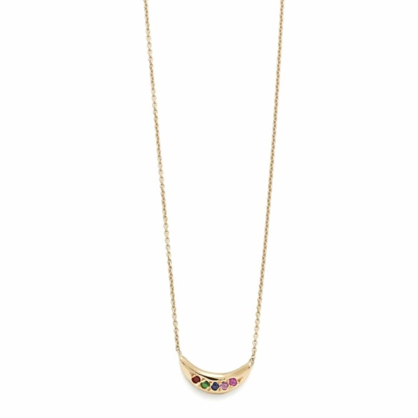 Yellow Gold Rainbow Mini Moon Necklace