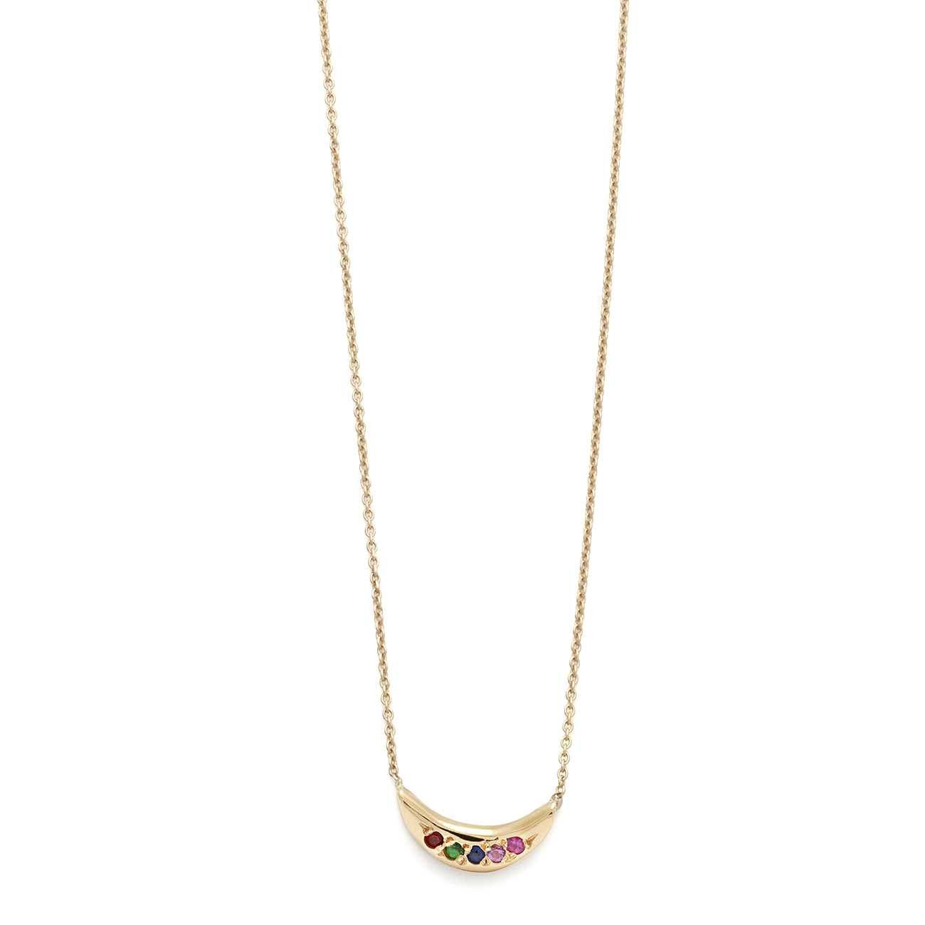 Yellow Gold Rainbow Mini Moon Necklace