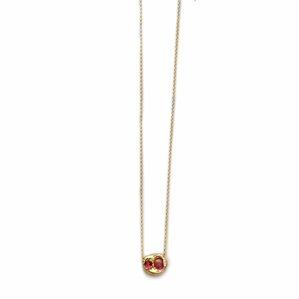 Yellow Gold Ruby Diamond Disk Necklace side rubies